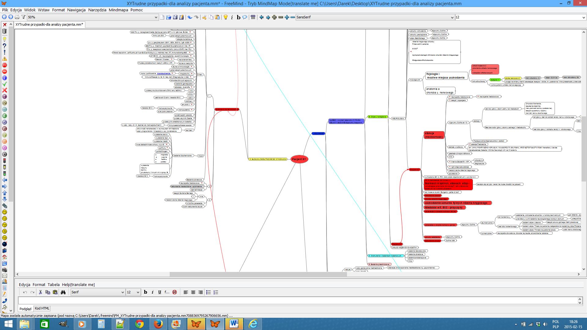 mapa myśli - analiza pacjenta XY